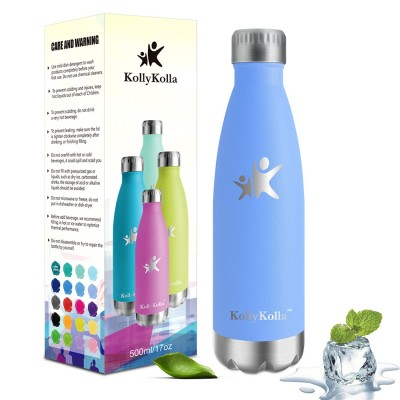 KollyKolla Metal Water Bottle Vacuum Insulated Water Bottles Hot & Cold Drinks Bottle Stainless Steel Thermos Flask Leakproof Kids for Sports Gym, Cycling, Football, Travel, 350ml/500ml/650ml/750ml,Blue Purple