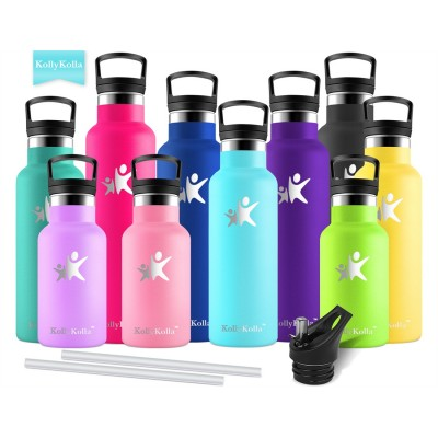 KollyKolla Metal Water Bottle Vacuum Insulated Water Bottles with Straw & Filter Hot & Cold Drinks Bottle Stainless Steel Thermos Flask Leakproof Kids for Gym,Cycling,Football,350ml/500ml/600ml/750ml,Sky Blue
